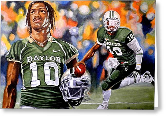 Pro Football Paintings Greeting Cards - Rg3 Greeting Card by Al  Molina