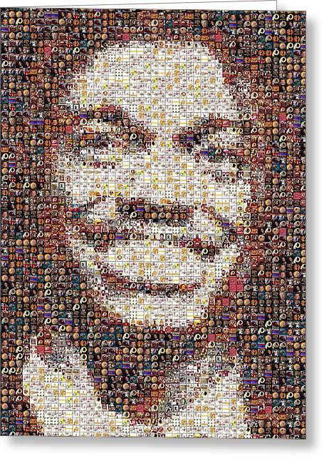 Heisman Greeting Cards - RG3 Redskins History Mosaic Greeting Card by Paul Van Scott