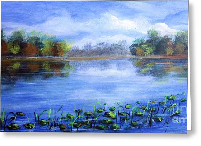 Reflection In Water Greeting Cards - Rhapsody in Blue Greeting Card by Vesna Martinjak