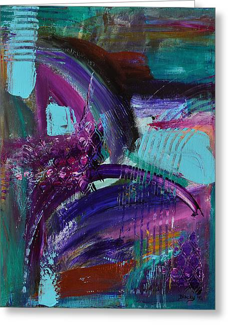 Purple Abstract Greeting Cards - Rhapsody In Raspberry Greeting Card by Donna Blackhall