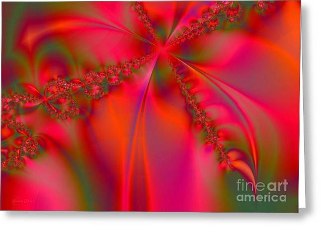 Geometrical Art Greeting Cards - Rhapsody In Red Greeting Card by Robert ONeil