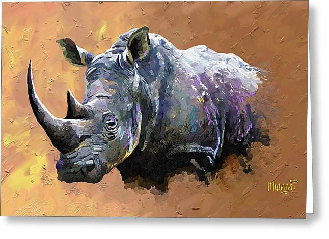 One Horned Rhino Paintings Greeting Cards - Rhino Greeting Card by Anthony Mwangi