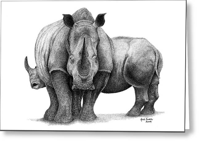 Rhinoceros Greeting Cards - Rhino Drawing Pointallism Greeting Card by Mike Oliver