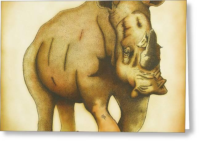 Rhinoceros Drawings Greeting Cards - Rhino Greeting Card by Erik Loiselle