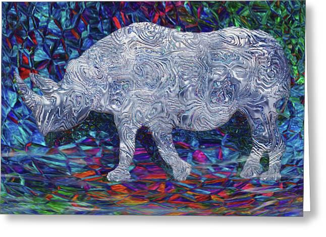 Rhino Glass Work Greeting Card by Jack Zulli