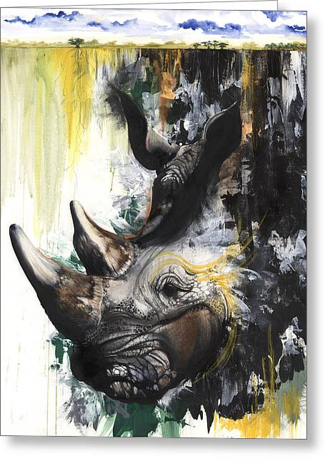 African-american Mixed Media Greeting Cards - Rhino II Greeting Card by Anthony Burks Sr