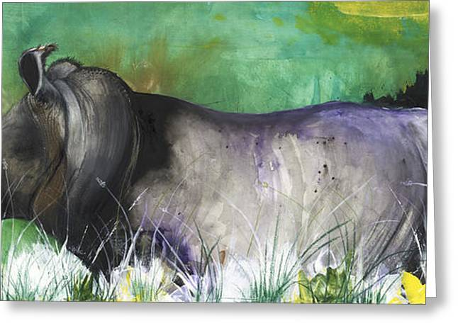 African-american Mixed Media Greeting Cards - Rhino III Greeting Card by Anthony Burks Sr