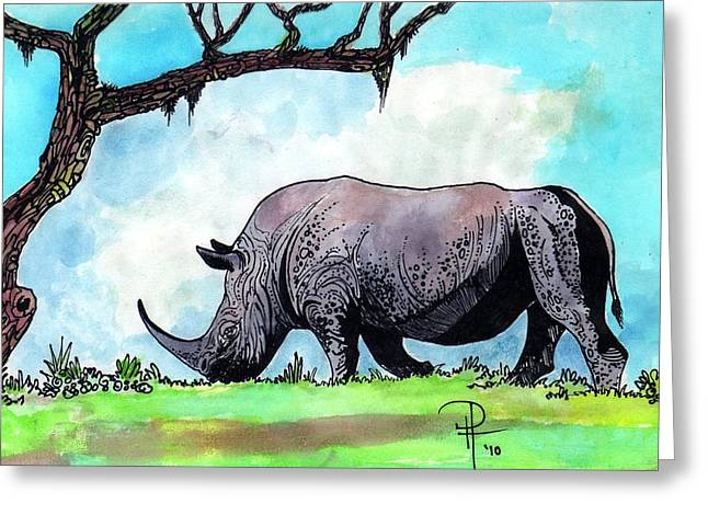 Rhinoceros Mixed Media Greeting Cards - Rhino Inker Greeting Card by Doug Hiser