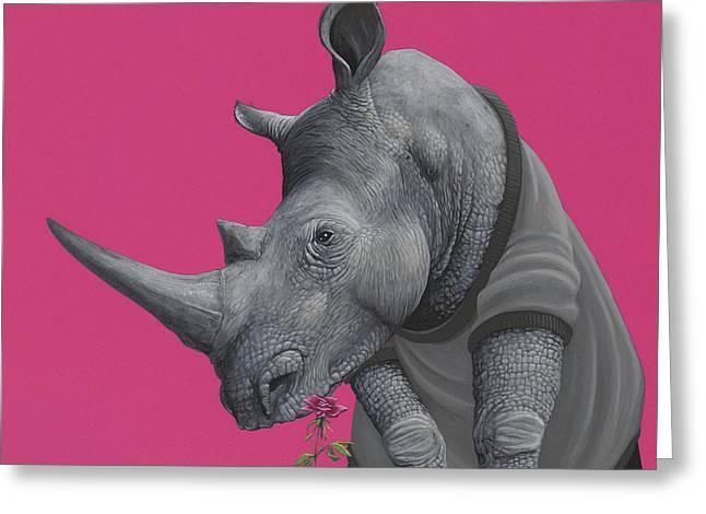 Rhino Greeting Card by Jasper Oostland