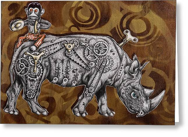 Mechanics Drawings Greeting Cards - Rhino Mechanics Greeting Card by Iosua Tai Taeoalii
