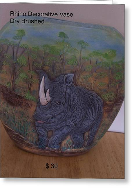 Animal Ceramics Greeting Cards - Rhino Greeting Card by Vijay Sharon Govender