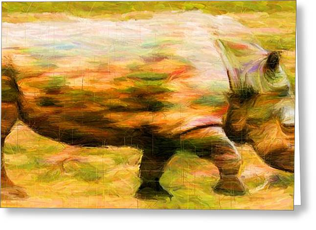Rhinocerus Digital Greeting Cards - Rhinocerace Greeting Card by Caito Junqueira