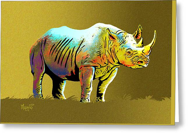 One Horned Rhino Paintings Greeting Cards - Rhinoceros Greeting Card by Anthony Mwangi