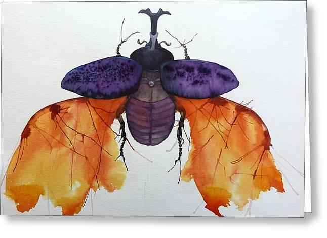 Rhinoceros Greeting Cards - Rhinoceros Beetle Greeting Card by Shasha Shaikh