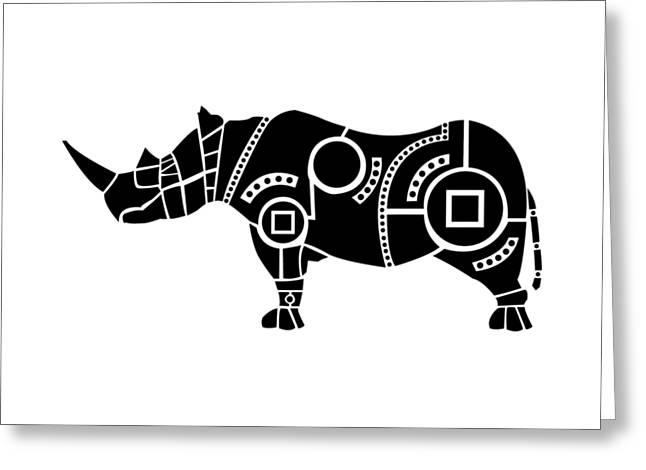 Rhinoceros Greeting Cards - Rhinoceros Greeting Card by Hinterlund