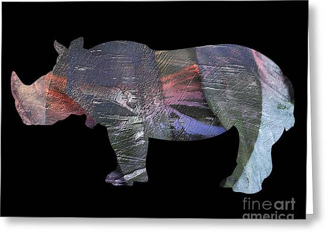 Printmaking Greeting Cards - Rhinoceros Greeting Card by Laura L Leatherwood