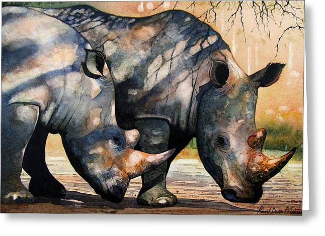 Rhinos Greeting Cards - Rhinos in dappled shade. Greeting Card by Paul Dene Marlor