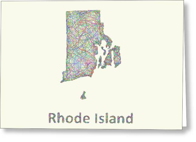 Rhode Island State Map Greeting Cards - Rhode Island line art map Greeting Card by David Zydd
