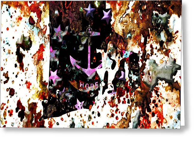 Quaker Mixed Media Greeting Cards - Rhode Island Paint Splatter Greeting Card by Brian Reaves