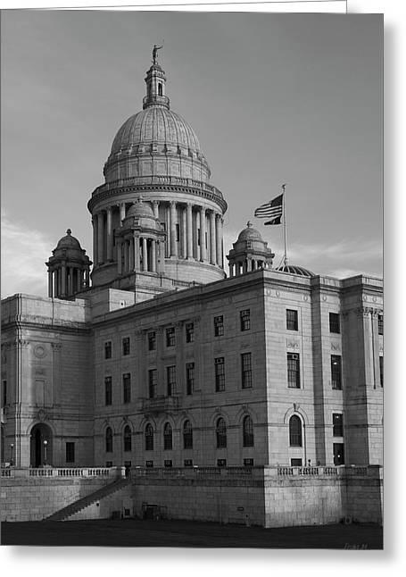 State Legislature Greeting Cards - Rhode Island State House I BW Greeting Card by David Gordon