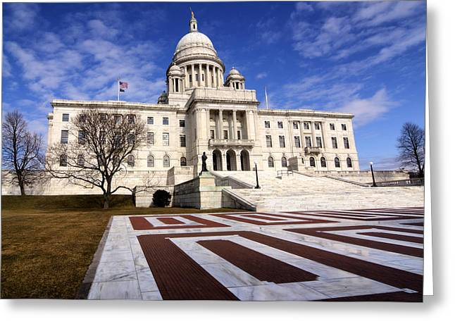 White Marble Greeting Cards - Rhode Island State House Greeting Card by Vicki Jauron