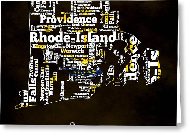 Quaker Mixed Media Greeting Cards - Rhode Island Typographic Map Greeting Card by Brian Reaves