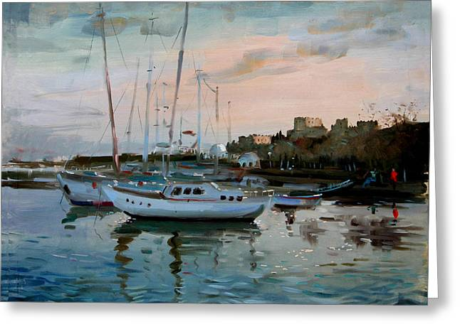 Rhodes Greeting Cards - Rhodes Mandraki Harbour Greeting Card by Ylli Haruni
