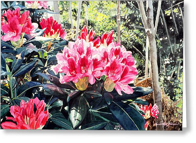 Most Paintings Greeting Cards - Rhododendrons of British Properties Greeting Card by David Lloyd Glover