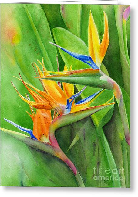 Tropical Bird Greeting Cards - Rhonicas Garden Greeting Card by Karen Fleschler