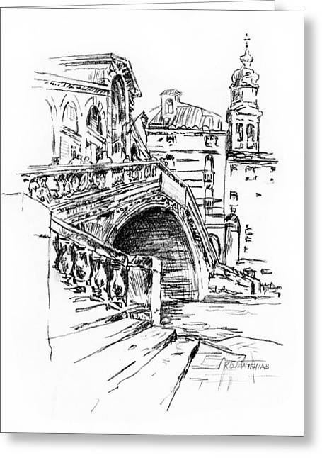 Historical Images Drawings Greeting Cards - Rialto Bridge Venice Italy pen and ink Greeting Card by Raymond Matthias