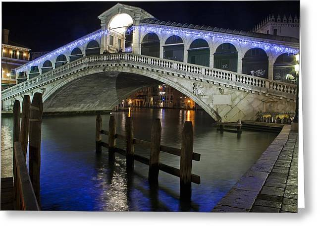 Quality Pyrography Greeting Cards - Rialto Bridge - Venice Greeting Card by Radu Aldea