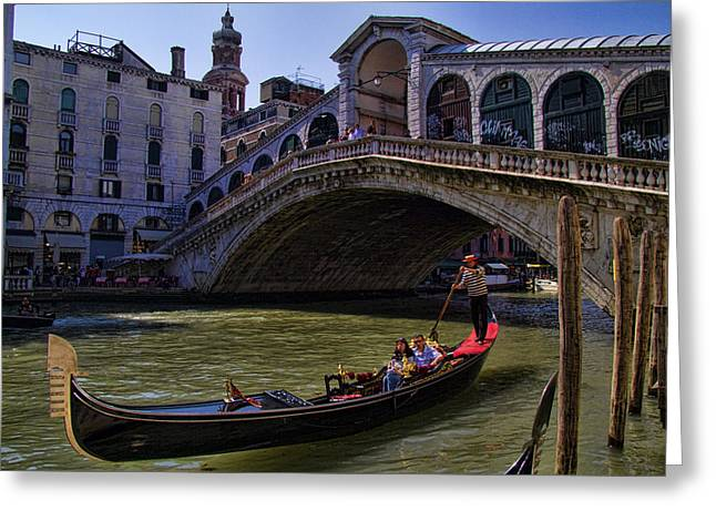 Famous Place Greeting Cards - Rialto Bridge in Venice Italy Greeting Card by David Smith