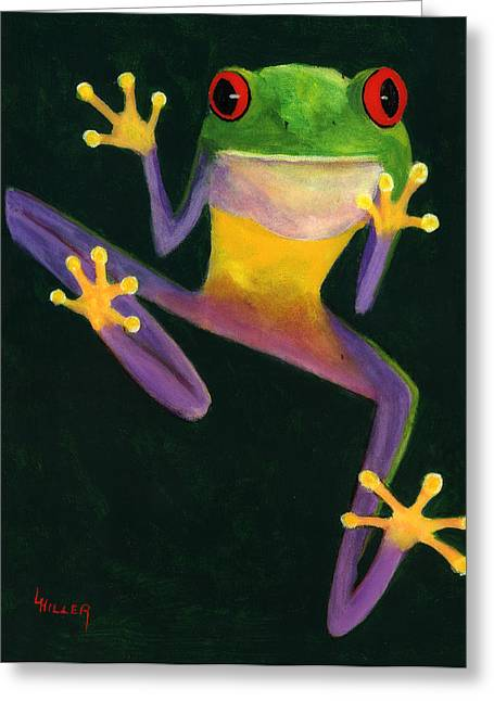 Tree Frog Paintings Greeting Cards - Ribbit Greeting Card by Linda Hiller