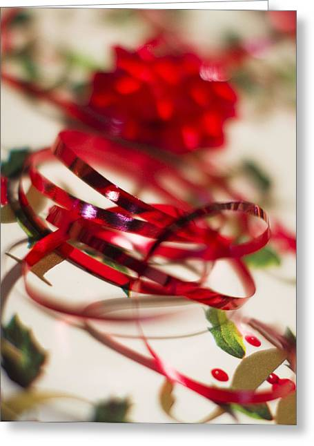 Glass Greeting Cards - Ribbon Curls Greeting Card by Rebecca Cozart