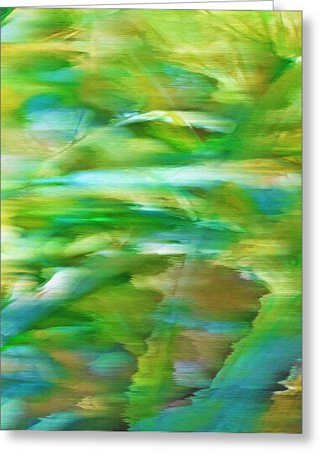 Windswept Mixed Media Greeting Cards - Ribbon Grass - Windswept Abstract Greeting Card by Steve Ohlsen