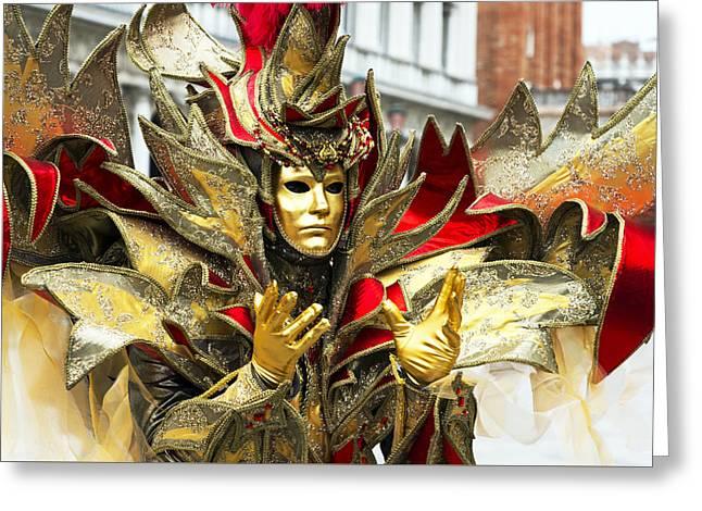 Beaded Gloves Greeting Cards - Ribbon Man 2015 Carnevale di Venezia Italia Greeting Card by Sally Rockefeller