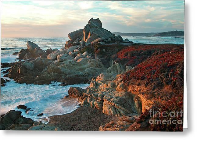 Ribera Beach Sunset Carmel California Greeting Card by Charlene Mitchell