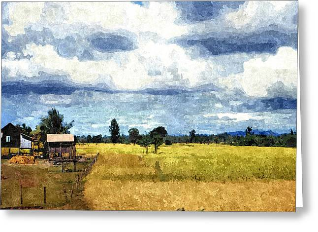 Field. Cloud Greeting Cards - Rice Farming in Thailand Greeting Card by John Trommer
