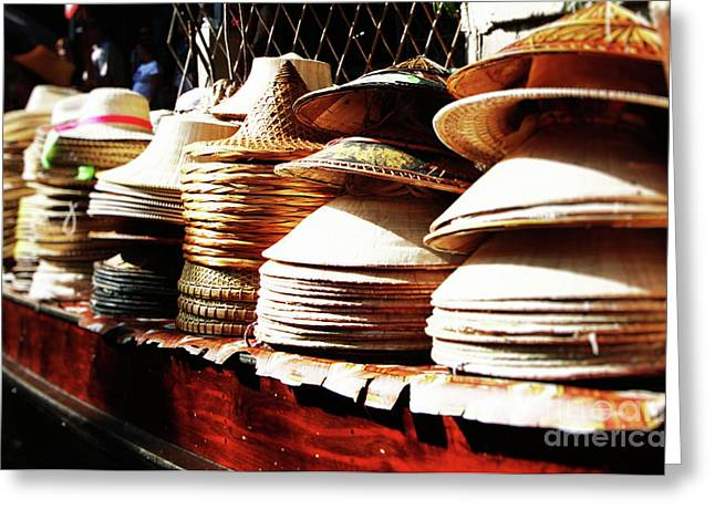 Thanh Tran Greeting Cards - Rice Hats Greeting Card by Thanh Tran