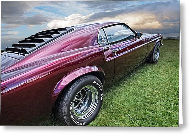 Mach I Greeting Cards - Rich Cherry - 69 Mustang Greeting Card by Gill Billington