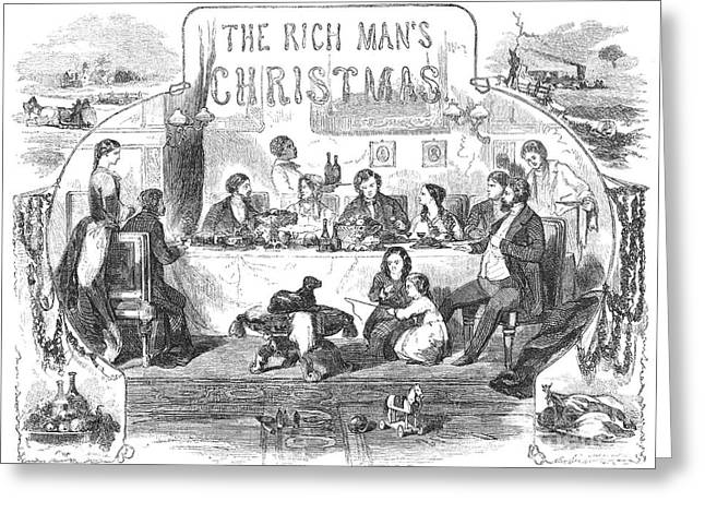 Table Wine Greeting Cards - Rich Mans Christmas, 1855 Greeting Card by Granger