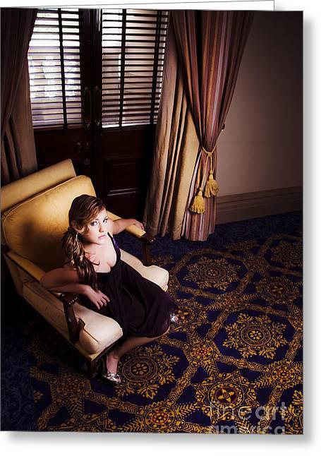 5 Star Greeting Cards - Rich Wealthy Woman Sitting In Upmarket Hotel  Greeting Card by Ryan Jorgensen
