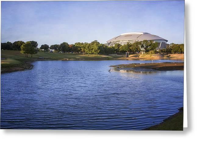 Att Ballpark Photographs Greeting Cards - Richard Greene Linear Park and ATT Stadium Greeting Card by Joan Carroll