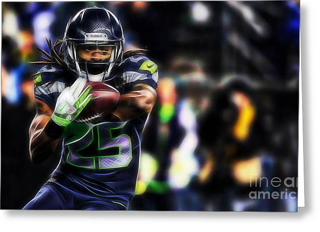 Pop Greeting Cards - Richard Sherman Collection Greeting Card by Marvin Blaine