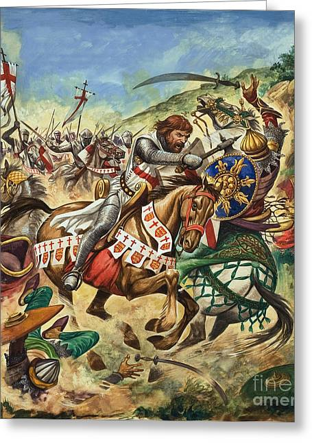 Saracen Greeting Cards - Richard the Lionheart during the Crusades Greeting Card by Peter Jackson