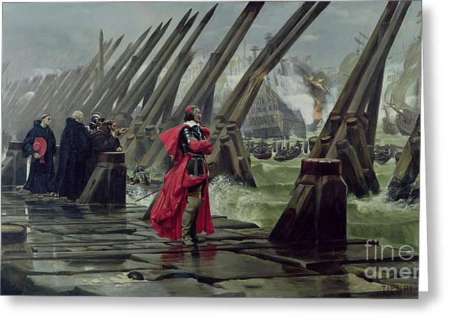 Sea Wall Greeting Cards - Richelieu Greeting Card by Henri-Paul Motte