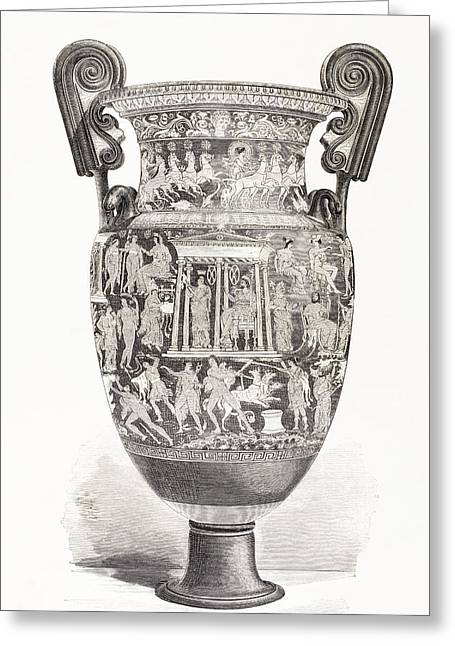 Old Vase Greeting Cards - Richly Decorated Greek Vase. From El Greeting Card by Ken Welsh