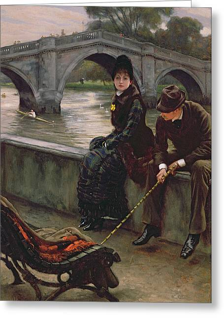 Kathleen Greeting Cards - Richmond Bridge Greeting Card by James Jacques Joseph Tissot