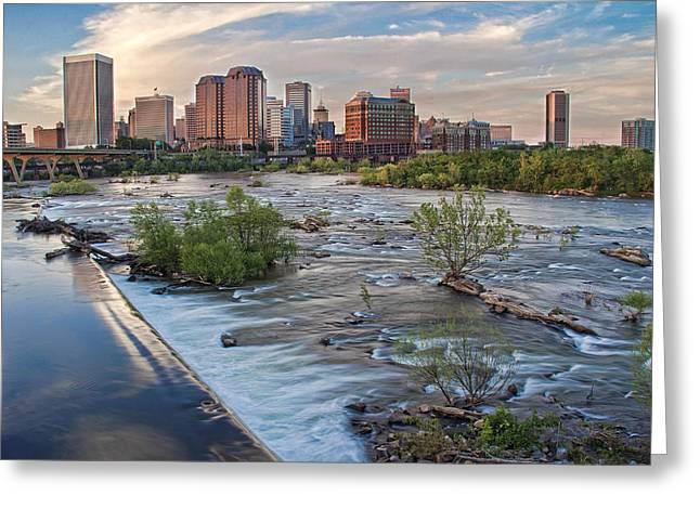 Turbulent Skies Greeting Cards - Richmond Evening Skyline I Greeting Card by Jemmy Archer