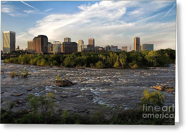 Turbulent Skies Greeting Cards - Richmond Evening Skyline Greeting Card by Jemmy Archer